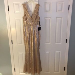 Lulus Gold All-Over Sequin Gown